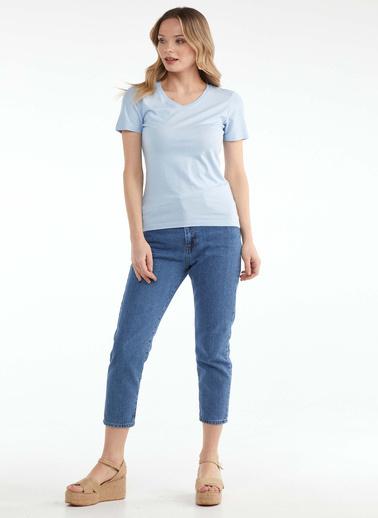 Sementa V Yaka Kadın Basic T.Shirt - Mavi Mavi